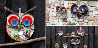 Dekoračné sovy z odpadkov | Dekorácia do záhrady z odpadu