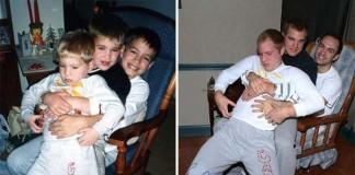 Traja bratia znovu nafotili fotky z detstva ako darček pre mamu