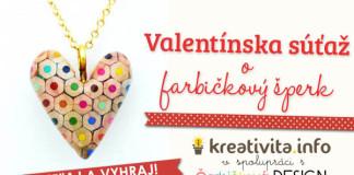 Valentínska súťaž o srdiečkový prívesok vyrobený z farbičiek