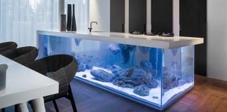 Kuchynská linka akvárium