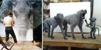 Kendra Haste sochy zvierat z pletiva