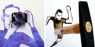 Kreatívne ilustrácie umelca mení predmety na niečo nové