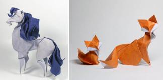 Origami zvieratká zložené mokrou technikou Hoang Tien Quyet