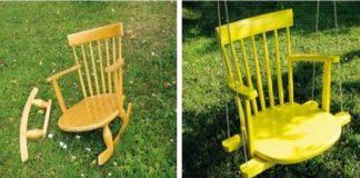 Hojdačka zo stoličky | Nápady ako premeniť starú stoličku na hojdačku