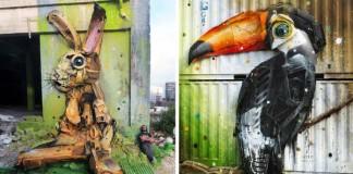 Umelec mení veľké kusy odpadu na umenie v podobe zvierat