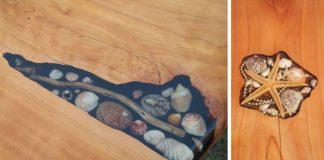 Umelci vypĺňajú praskliny stolov mušľami, hviezdicami či kamienkami