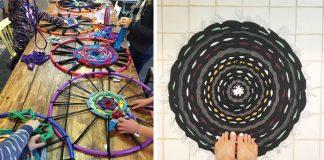Hula Hoop koberec zo starých tričiek | Kreatívny nápad návod na koberček