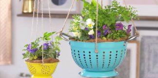 Kvetináč z cedníka | Nápady a návody, ako premeniť cedníky na kvetináče