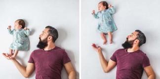 Hravé fotografie šťastného otca a jeho mesačnej dcérky