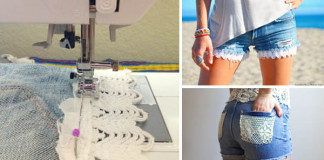 Džínsové šortky s krajkou | Nápady ako oživiť staré kraťasy krajkou čipkou