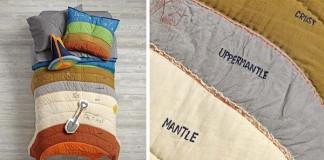 Posteľné prádlo zobrazujúce geologické vrstvy Zeme