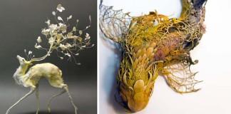 Ellen Jewett a jej sochy spájajúce faunu a flóru v jeden celok