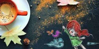 Umelkyňa kreslí roztomilé ilustrácie pri raňajšej šálke kávy