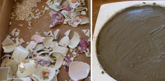 Záhradný kameň z črepín rozbitého porcelánu | Kreatívny nápad a návod