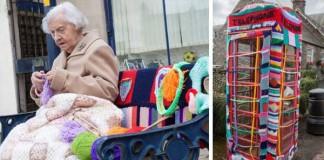 104-ročná babička Grace Brett obliekla ulice pleteným street-artom