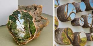 Maľby krajín na povrchu polien stromov | Alison Moritsugu