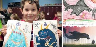 Umelci maľujú obrazy, ktorým predlohou sú detské kresby
