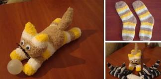 Mačka z ponožky | Návod roztomilú hračku alebo dekoráciu
