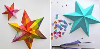 Jednoduchý návod ako vytvoriť 3D hviezdy | Nápad na dekoráciu