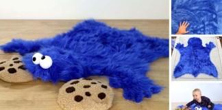 Návod na chlpatý koberček pre deti v podobe sušienkovej príšerky