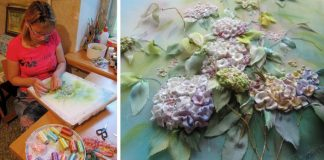 Obrazy vyšívané stuhami spod rúk Angely Yuklyanchuk
