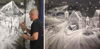 Umelým snehom v spreji maľuje na okná zimné scenérie | Tom Baker