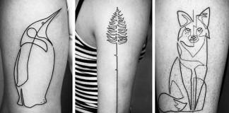 Tetovania od Mo Ganji vytvorené jednou kontinuálnou čiarou