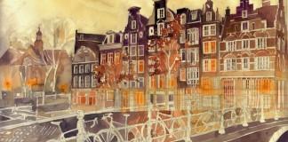 Akvarelové maľby známych miest sveta