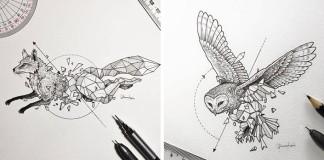 Kresby divokých zvierat v spojení s geometrickými tvarmi
