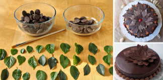 čokoládové listy na zdobenie torty | Návod ako postupovať