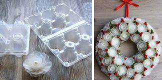 Mrazivý vianočný veniec z plastového obalu na vajíčka | DIY nápad