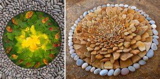 Prírodné umenie z kameňov a listov | Land Art od Dietmar Voorwold