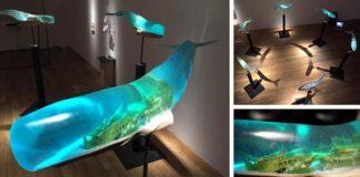 Živicové sochy veľrýb Samsara | Isana Yamada