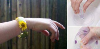 Návod ako si vyrobiť živicový náramok s flitrami či rastlinkami