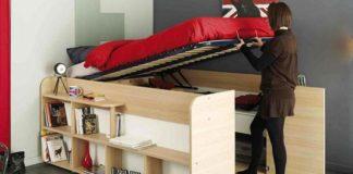 Vyvýšená posteľ s úložným priestorom | Police a zásuvky v posteli Parisot