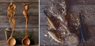 Ručne vyrezávané lyžice prekypujú detailami | Giles Newman