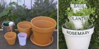 Bylinková záhradka z kvetináčov | Šikovný nápad s návodom