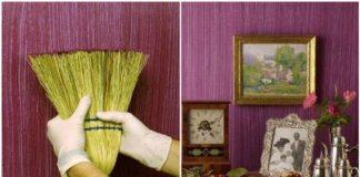 Textúra na stene vytvorená pomocou metly | Kreatívny nápad