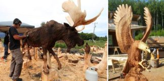 Drevené sochy motorovou pílou od Jordan Anderson | Rezbárstvo