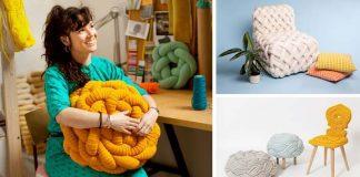 Pletený nábytok Olann od textilnej dizajnérky Claire-Anne O'Brien