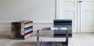 Stoly z tkaných kobercov vyrába švédsky dizajnér nábytku Lars Hofsjö
