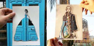 Módny ilustrátor Shamekh Bluwi vyfarbuje svoje modely reálnym pozadím