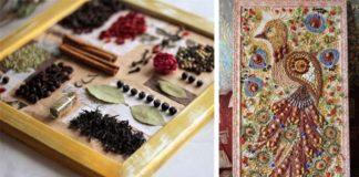 Obrazy vytvorené z korenín, sušeného ovocia, kávy či strukovín