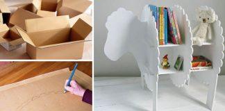 Polička v tvare ovečky do detskej izby vyrobená z kartónu | DIY nápad