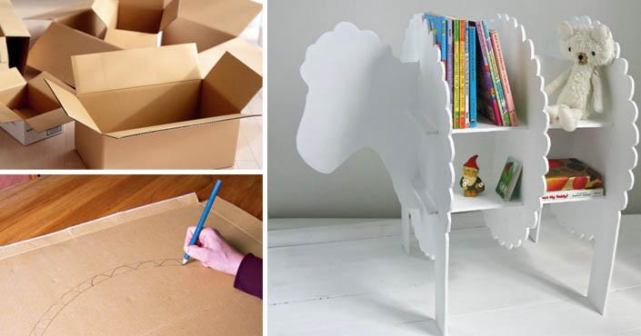 e2bc1f9e2bd6 Polička v tvare ovečky do detskej izby vyrobená z kartónu