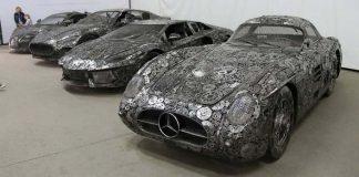 Luxusné autá vyrobené z kovového odpadu na výstave v Pruszkówe
