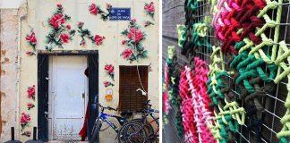 Veľkoplošné krížikové výšivky na stenách budov Madridu | Raquel Rodrigo