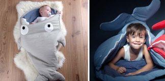 Spacie vaky Baby Bites v tvare rybky hravo zhltnú deti v pokojnom spánku