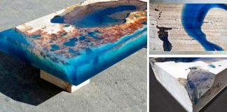 Stoly z travertínu a živice pripomínajú útesy a lagúny | Alexandre Chapelin