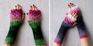 Háčkované rukavice inšpirované šupinami dračej kože | Mareshop